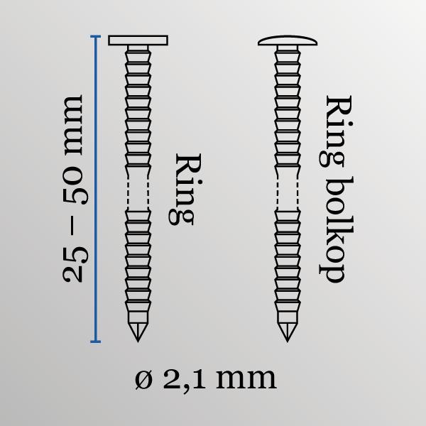 Coilnagels conisch type DC 21/50 mm RVS/ring bolkop