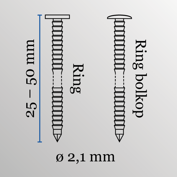 Coilnagels conisch type DC 21/40 mm RVS/ring bolkop